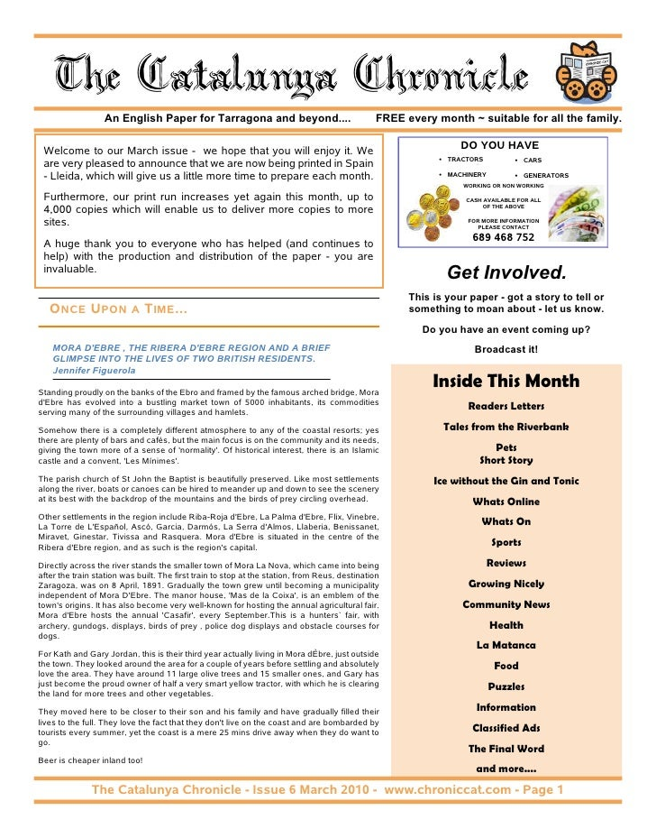 The Catalunya Chronicle                   An English Paper for Tarragona and beyond....                                FRE...