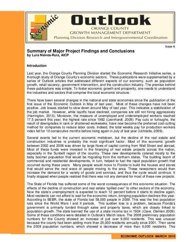 Issue 6Summary of Major Project Findings and Conclusionsby Luis Nieves-Ruiz, AICPIntroductionLast year, the Orange County ...