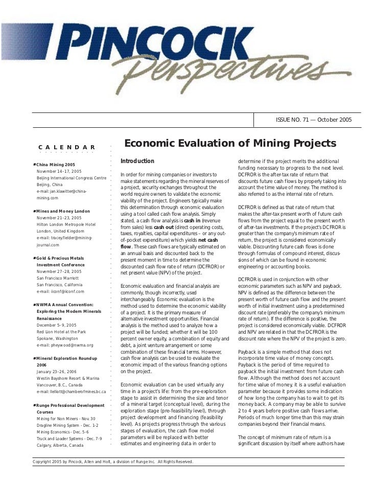 ISSUE NO. 71 — October 2005   C A L E N D A R                                   Economic Evaluation of Mining Projects    ...