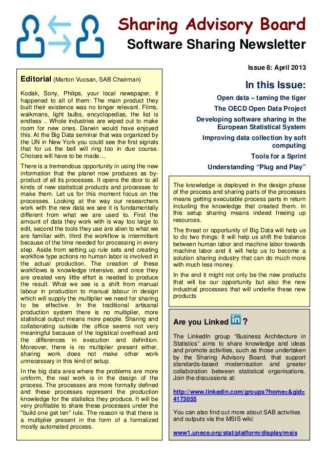 Sharing Advisory BoardSoftware Sharing NewsletterIssue 8: April 2013Editorial (Marton Vucsan, SAB Chairman)Kodak, Sony, Ph...