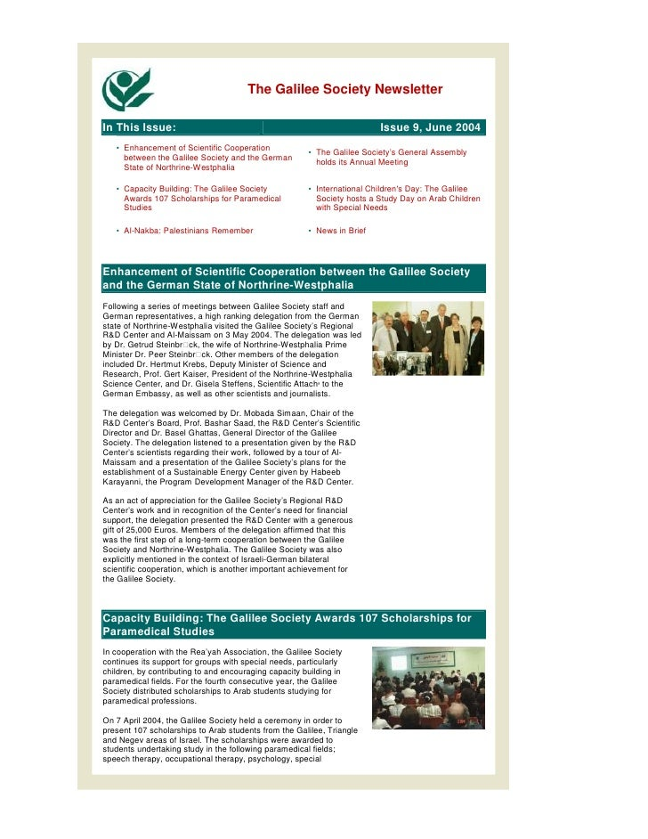 The Galilee Society NewsletterIn This Issue:                                                           Issue 9, June 2004 ...