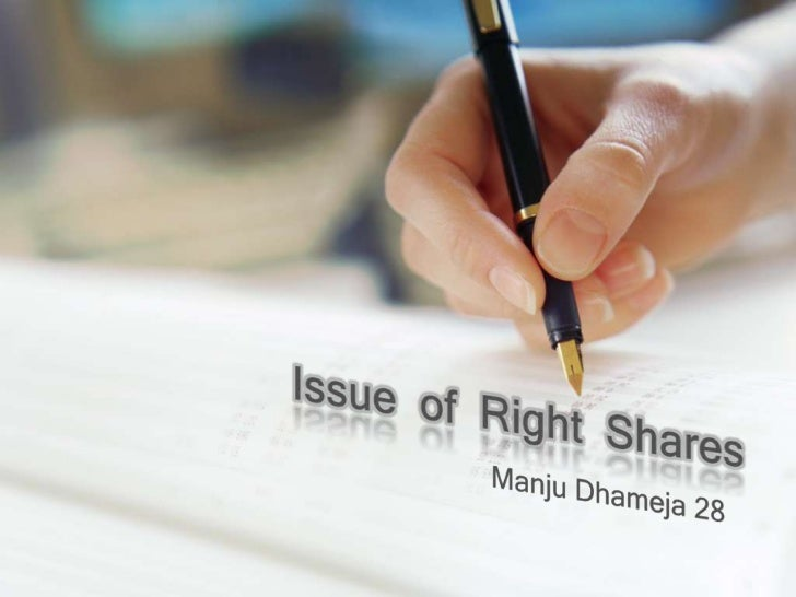 Issue  of  Right  Shares<br />Manju Dhameja 28<br />