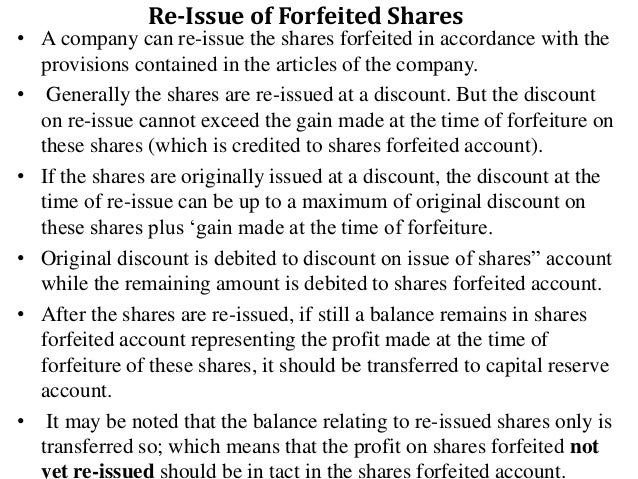 68. Re Issue Of Forfeited ...