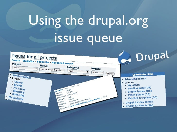 Using the drupal.org issue queue