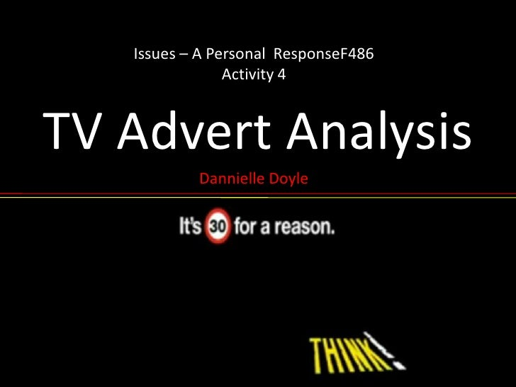 Issues – A Personal  ResponseF486Activity 4<br />TV Advert Analysis<br />Dannielle Doyle<br />