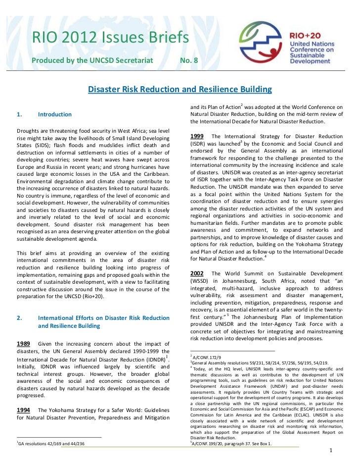 RIO 2012 Issues Briefs       Produced by the UNCSD Secretariat                            No. 8                           ...