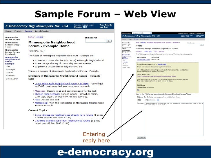 Sample Forum – Web View Entering reply here