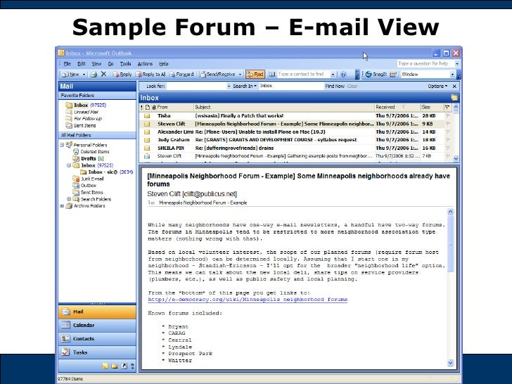Sample Forum – E-mail View