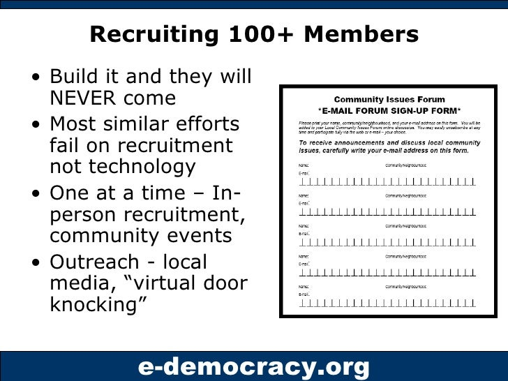 Recruiting 100+ Members <ul><li>Build it and they will NEVER come </li></ul><ul><li>Most similar efforts fail on recruitme...