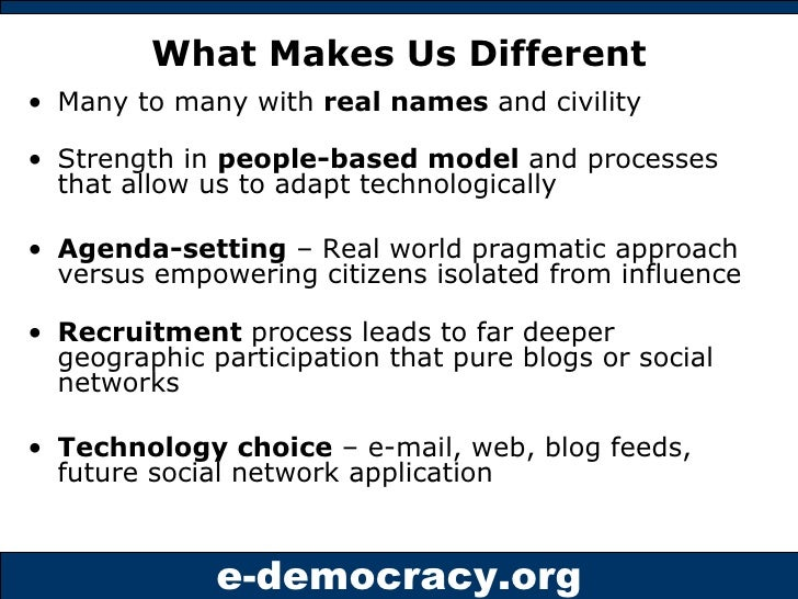 What Makes Us Different <ul><li>Many to many with  real names  and civility </li></ul><ul><li>Strength in  people-based mo...