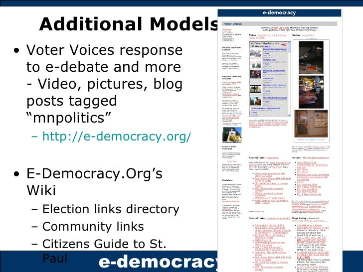"""Additional Models <ul><li>Voter Voices response to e-debate and more - Video, pictures, blog posts tagged """"mnpolitics""""  </..."""