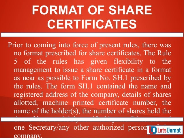 how to get share certificate