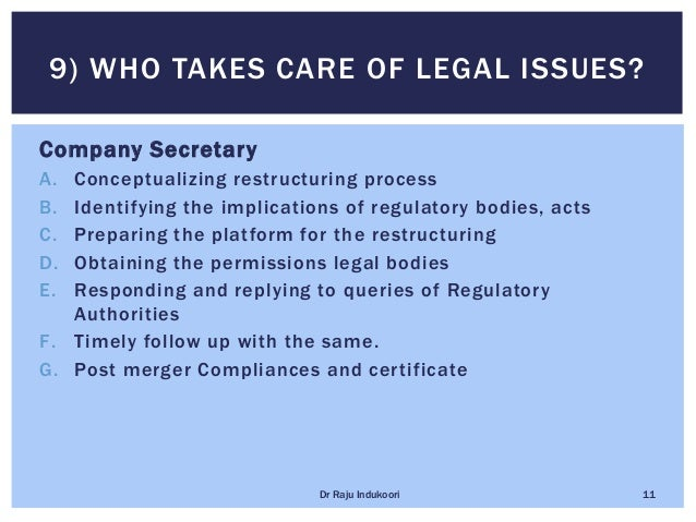 Company Secretary A. Conceptualizing restructuring process B. Identifying the implications of regulatory bodies, acts C. P...