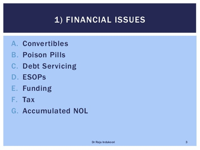 A. Convertibles B. Poison Pills C. Debt Servicing D. ESOPs E. Funding F. Tax G. Accumulated NOL 1) FINANCIAL ISSUES Dr Raj...