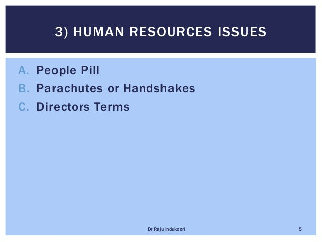 A. People Pill B. Parachutes or Handshakes C. Directors Terms 3) HUMAN RESOURCES ISSUES Dr Raju Indukoori 5