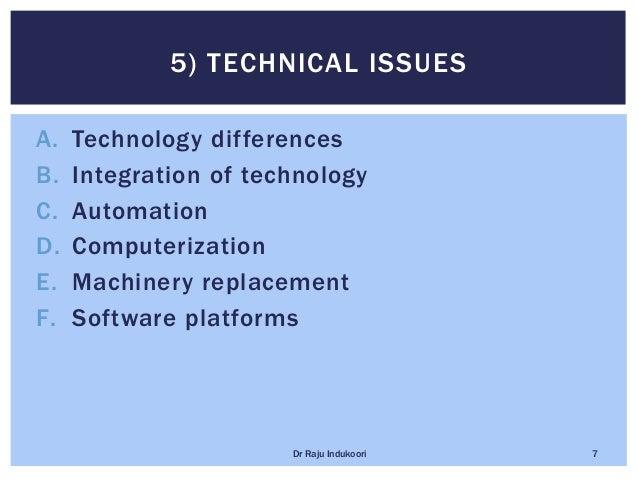 A. Technology differences B. Integration of technology C. Automation D. Computerization E. Machinery replacement F. Softwa...