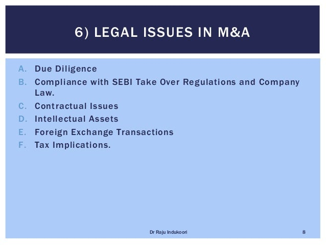 A. Due Diligence B. Compliance with SEBI Take Over Regulations and Company Law. C. Contractual Issues D. Intellectual Asse...