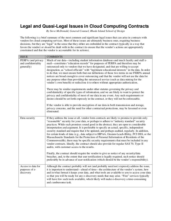 Legal and Quasi-Legal Issues in Cloud Computing Contracts                       By Steve McDonald, General Counsel, Rhode ...