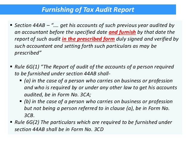 ... 5. Furnishing Of Tax Audit Report ...