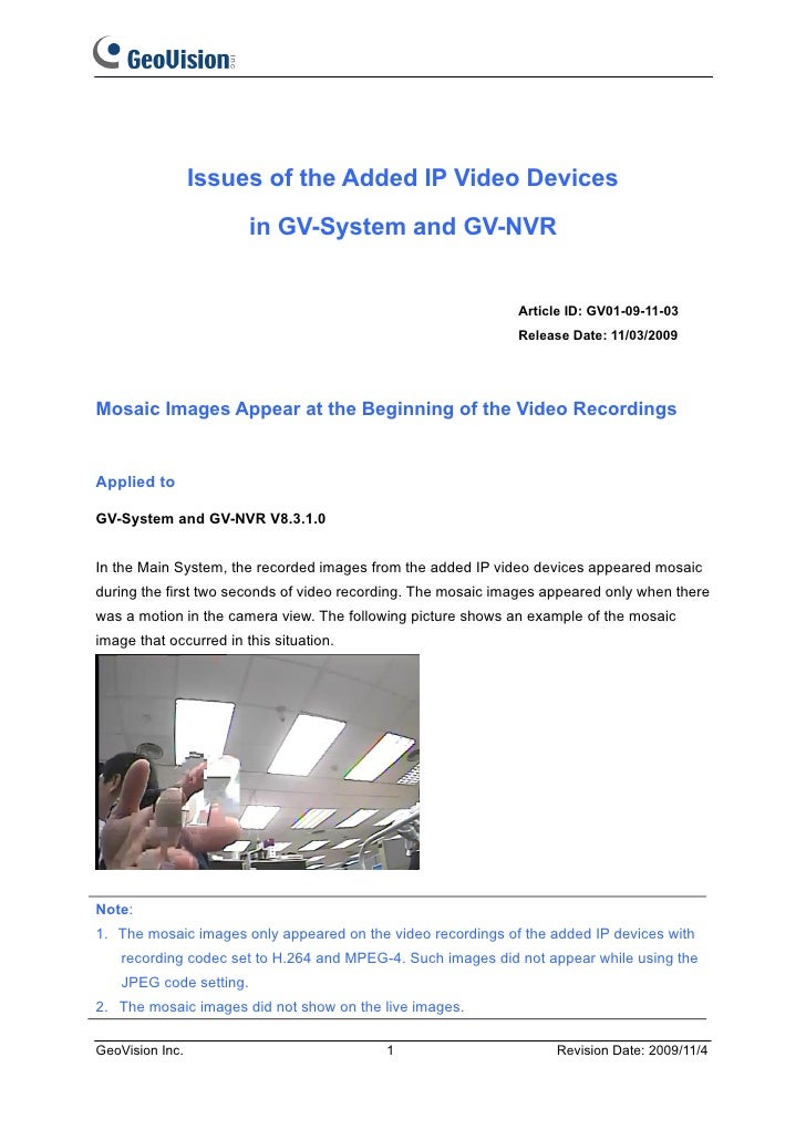 Issues of the Added IP Video Devices                         in GV-System and GV-NVR                                      ...
