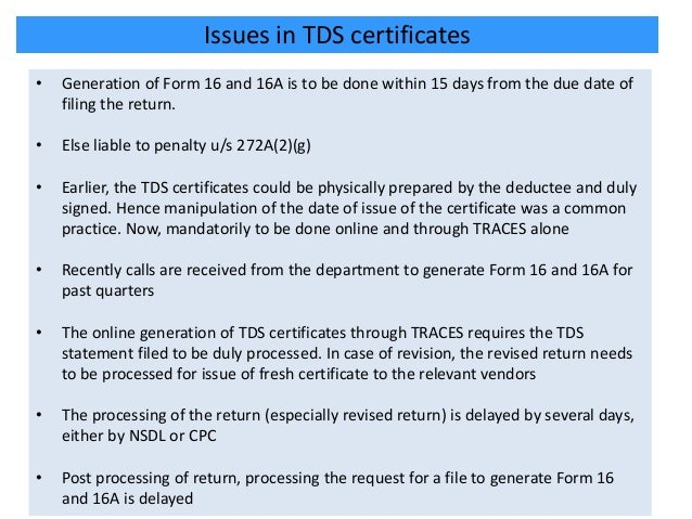 Issues on filing of e tds returns and statements