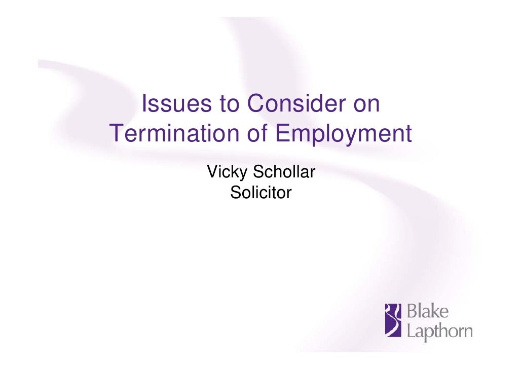 Issues to consider on termination of employment