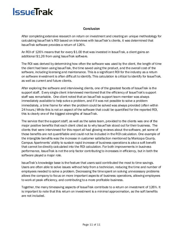 Page 11 of 11 Conclusion After completing extensive research on return on investment and creating an unique methodology fo...