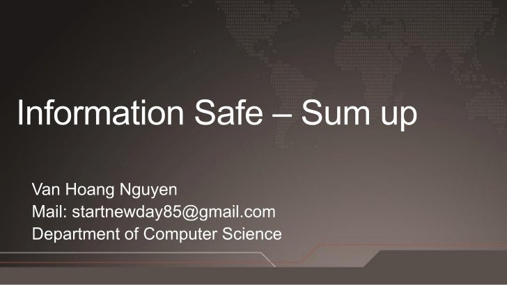 """What is Information        and""""Information Safe"""""""