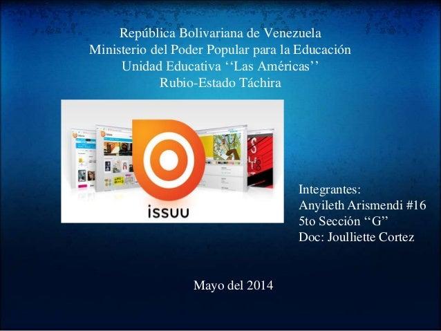 República Bolivariana de Venezuela Ministerio del Poder Popular para la Educación Unidad Educativa ''Las Américas'' Rubio-...