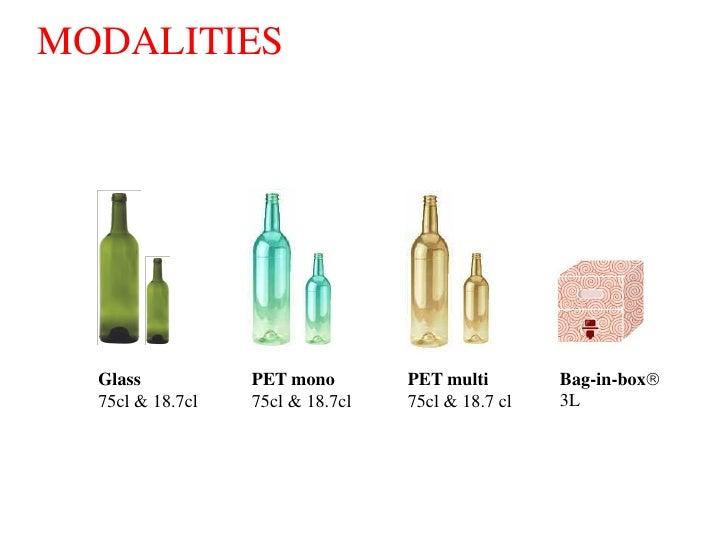 MODALITIES       Glass           PET mono        PET multi        Bag-in-box   75cl & 18.7cl   75cl & 18.7cl   75cl & 18....