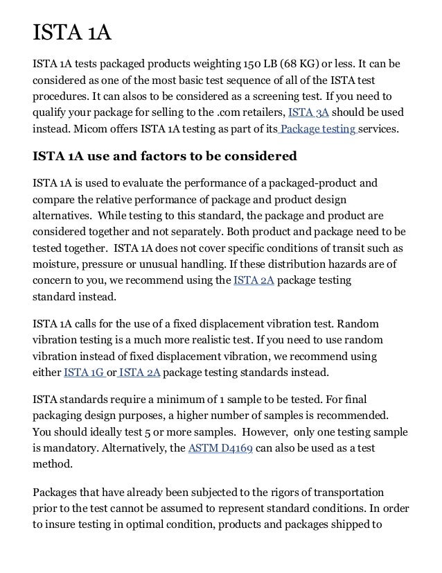 Ista 1a Packaging Test Offered At Micom Laboratories