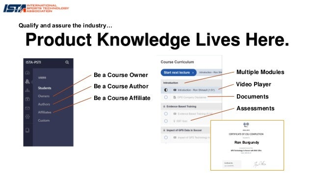 Product Knowledge Lives Here. Qualify and assure the industry… Be a Course Owner Be a Course Author Be a Course Affiliate ...