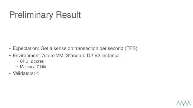 Preliminary Result • Expectation: Get a sense on transaction per second (TPS). • Environment: Azure VM. Standard D2 V2 ins...