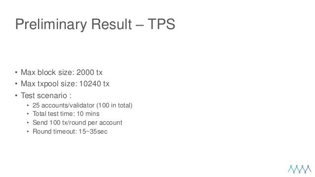 Preliminary Result – TPS • Max block size: 2000 tx • Max txpool size: 10240 tx • Test scenario : • 25 accounts/validator (...