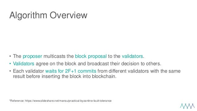 Algorithm Overview • The proposer multicasts the block proposal to the validators. • Validators agree on the block and bro...