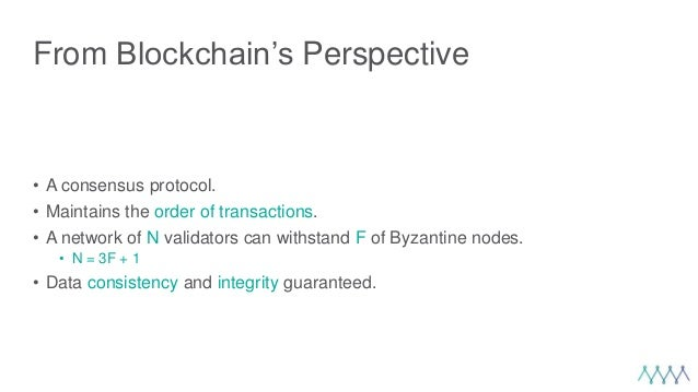 From Blockchain's Perspective • A consensus protocol. • Maintains the order of transactions. • A network of N validators c...