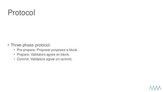Protocol • Three-phase protocol: • Pre-prepare: Proposer proposes a block. • Prepare: Validators agree on block. • Commit:...