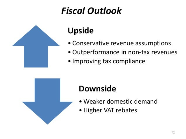 Fiscal Outlook  Upside  • Conservative revenue assumptions  • Outperformance in non-tax revenues  • Improving tax complian...