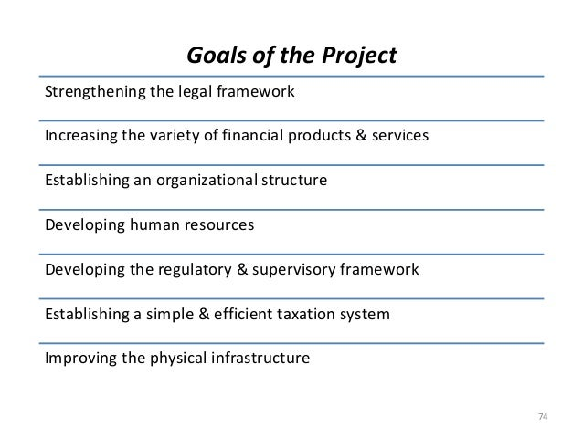 Goals of the Project  Strengthening the legal framework  Increasing the variety of financial products & services  Establis...