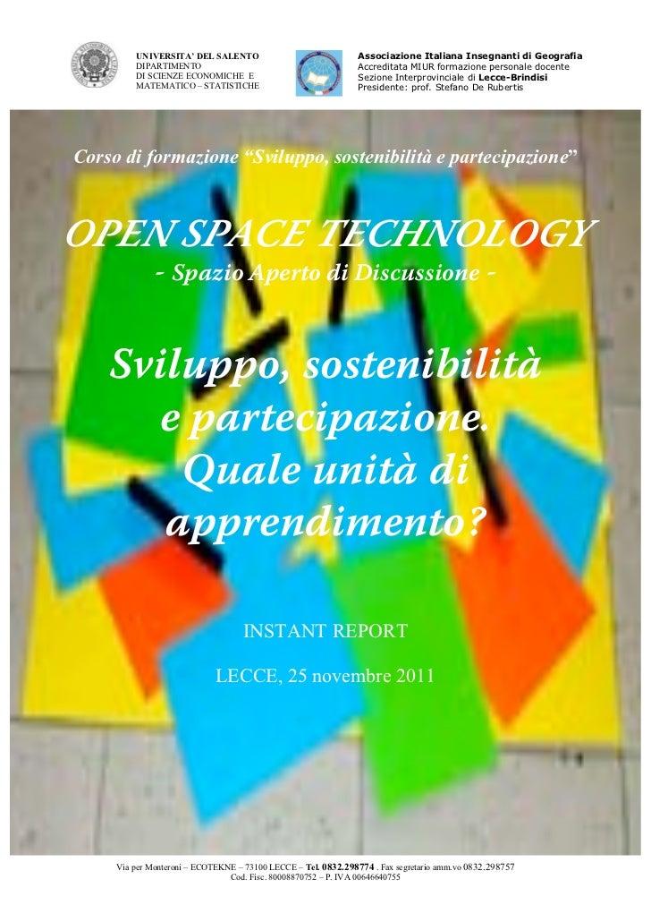 UNIVERSITA' DEL SALENTO                               Associazione Italiana Insegnanti di Geografia         DIPARTIMENTO  ...
