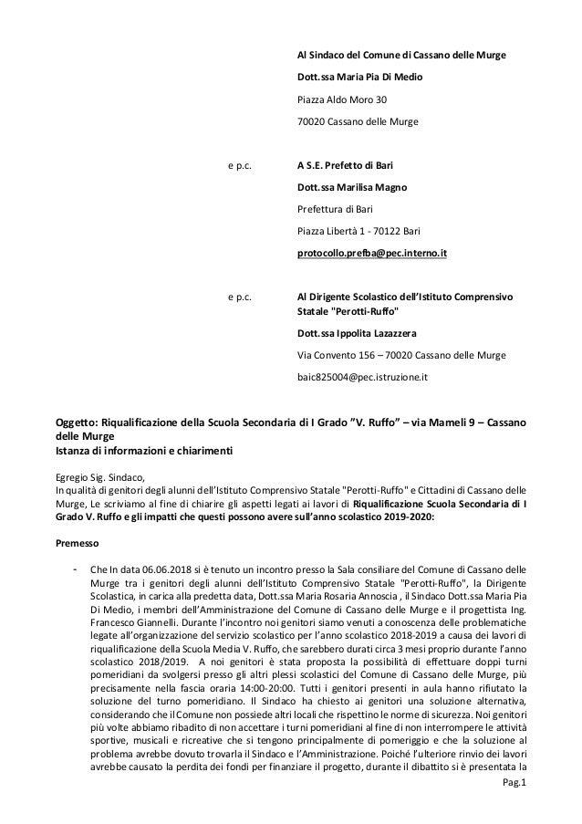 Pag.1 Al Sindaco del Comune di Cassano delle Murge Dott.ssa Maria Pia Di Medio Piazza Aldo Moro 30 70020 Cassano delle Mur...