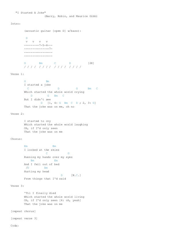 I started a joke chords by bee gees @ ultimate guitar