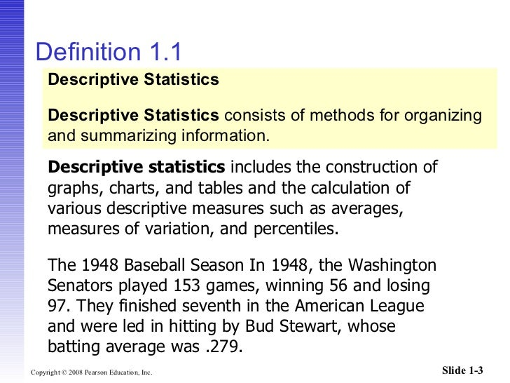 meaning of descriptive statistics Chapter 4 descriptive statistics and graphic displays most of this book, as is the case with most statistics books, is concerned with statistical inference, meaning.