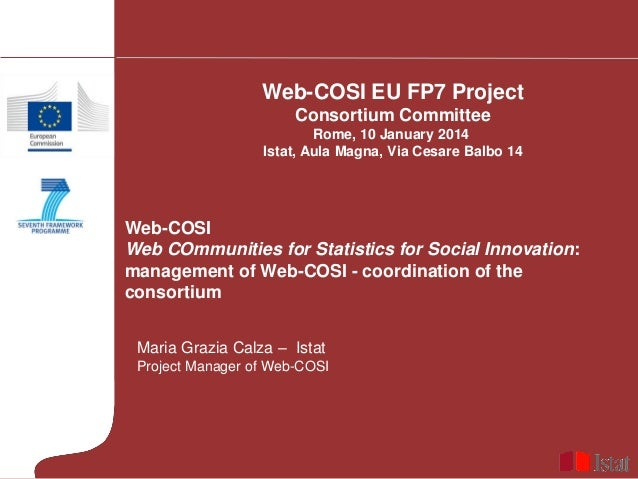 Web-COSI EU FP7 Project Consortium Committee Rome, 10 January 2014 Istat, Aula Magna, Via Cesare Balbo 14  Web-COSI Web CO...