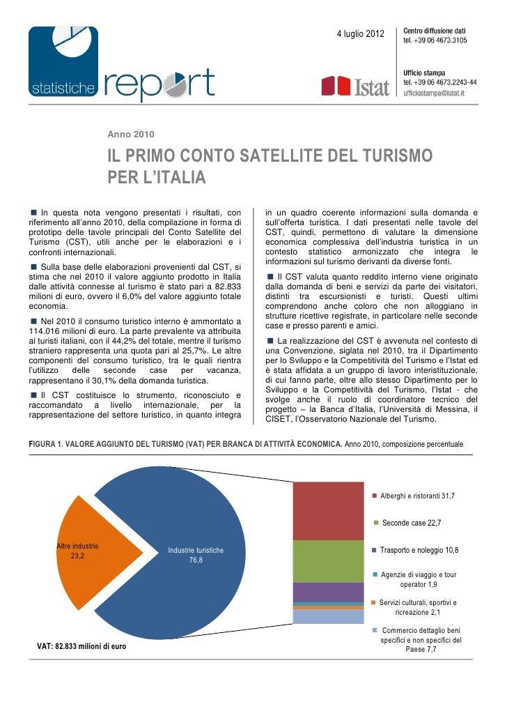 4 luglio 2012                          Anno 2010                          IL PRIMO CONTO SATELLITE DEL TURISMO            ...
