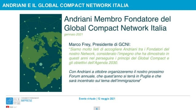 Evento virtuale   12 maggio 2021 ANDRIANI E IL GLOBAL COMPACT NETWORK ITALIA 6