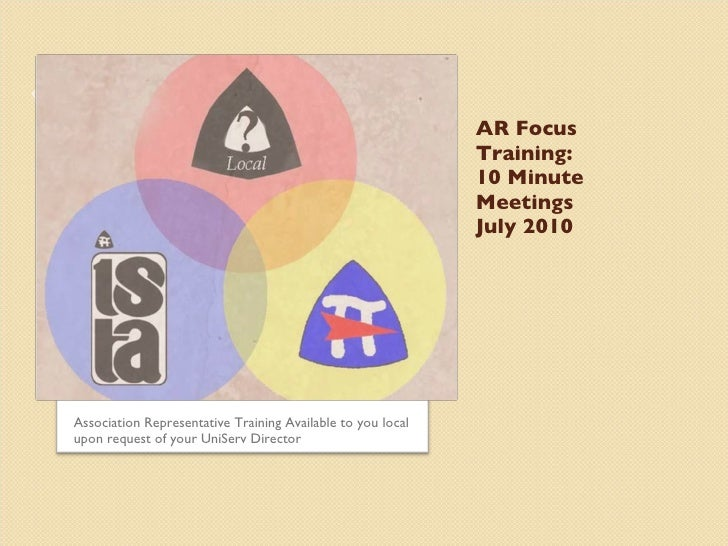 AR Focus Training: 10 Minute Meetings July 2010 <ul><li>Association Representative Training Available to you local upon re...