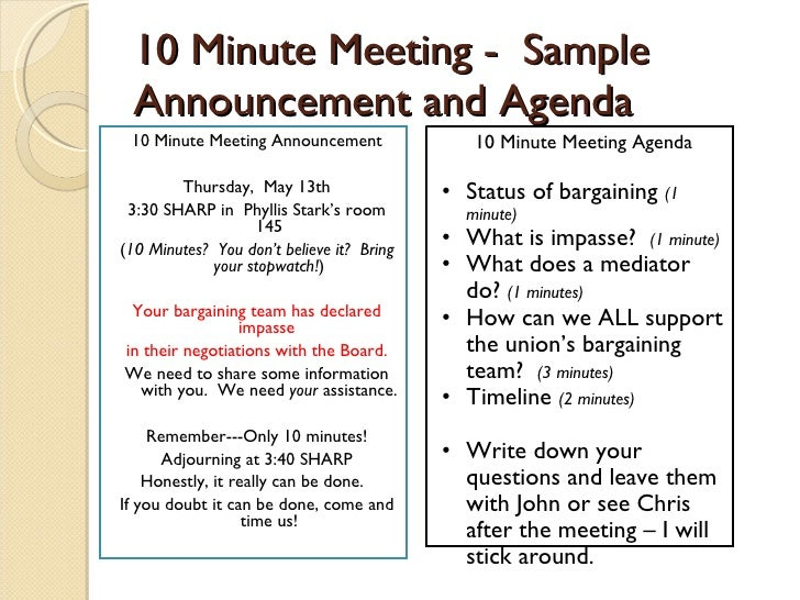 minutes for meeting sample