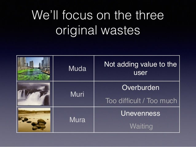 We'll focus on the three original wastes Muda Not adding value to the user Muri Overburden Too difficult / Too much Mura Un...