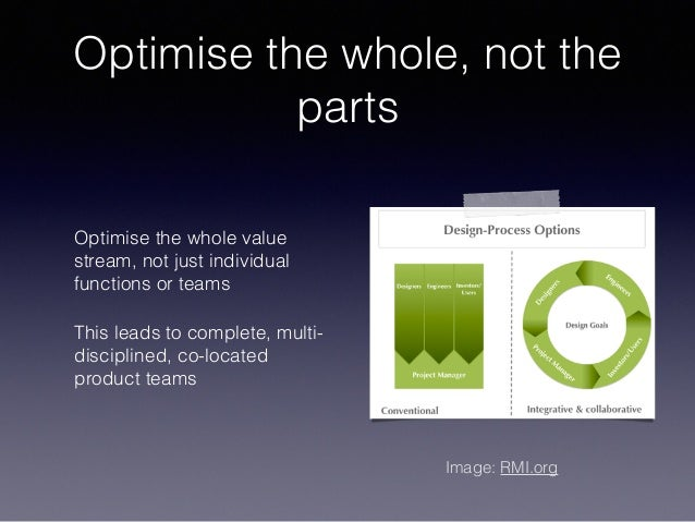 Optimise the whole, not the parts Optimise the whole value stream, not just individual functions or teams This leads to co...